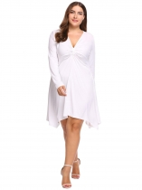 White Plus Size V-Neck Solid Sexy Asymmetric Dress