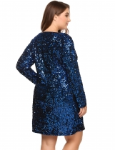 Navy blue Plus Size Long Sleeve Sequined Party Club Dress
