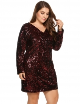 Wine red Plus Size Long Sleeve Sequined Party Club Dress