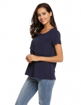 Navy blue O-Neck Short Sleeve Solid T-Shirt