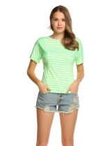 Green V-Neck Short Sleeve Striped Basic Slim T-Shirts