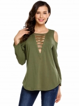 Army green Long Sleeve V Neck Solid Ladder Cut Cold Shoulder Tunic Tops