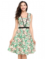 Printed Vintage Style Sleeveless Elastic Waist Casual Dress