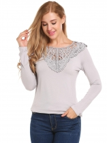 Light gray Crochet Patchwork Long Sleeve Tops