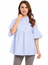 Dark blue Women Casual Shirt Collar Half Trumpet Sleeve Striped Button Casual Tops