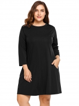Black Long Sleeve Solid Plus Size Dress with Pockets