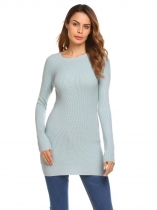 Gray Solid Long Sleeve Thick Knitting Long Slim Pullover Sweater