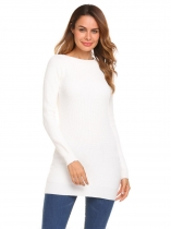 White Solid Long Sleeve Thick Knitting Long Slim Pullover Sweater