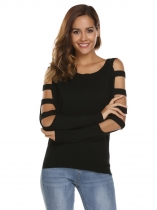 Black Cut-off Long Sleeve Asymmetric Solid Loose Knitting Sweater