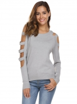 Dark gray Cut-off Long Sleeve Asymmetric Solid Loose Knitting Sweater