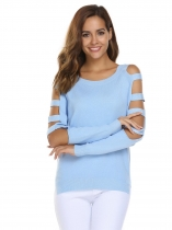 Light blue Cut-off Long Sleeve Asymmetric Solid Loose Knitting Sweater