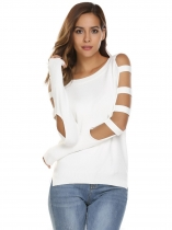 White Cut-off Long Sleeve Asymmetric Solid Loose Knitting Sweater