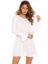 White Round Neck Flare Sleeve Solid Loose Fit Tunic Dress