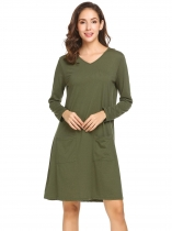 Army green Women V-Neck Long Sleeve Solid Casual Loose Fit Tunic Casual Dress