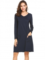 Dark blue Women V-Neck Long Sleeve Solid Casual Loose Fit Tunic Casual Dress