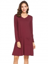 Wine red Women V-Neck Long Sleeve Solid Casual Loose Fit Tunic Casual Dress