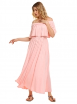 Pink Sleeveless Solid Off Shoulder Ruffled Maxi Dress