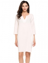 White Casual 3/4 Sleeve Solid Notch Neck Shift Dress