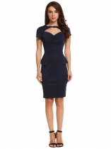 Navy blue Short Sleeve Cut Out Front Peplum Pencil Dress