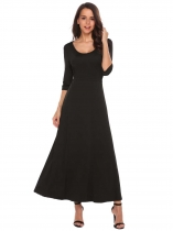 Black Solid Waist Drawstring Hem Split Dress