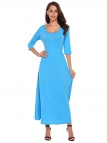 Blue Solid Waist Drawstring Hem Split Dress