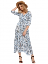 Azul claro Azul claro Mulheres Boêmio V-Neck 3/4 Sleeve Print Button Up Split Summer Beach Maxi Dress
