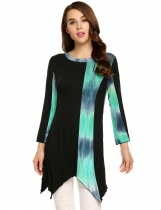Black Contrast Color Asymmetrical Hem Long Sleeve O-Neck Tunics