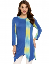 Blue Contrast Color Asymmetrical Hem Long Sleeve O-Neck Tunics