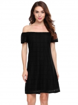 Black Solid Slash Neck Off the Shoulder A-Line Dress