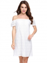 White Solid Slash Neck Off the Shoulder A-Line Dress