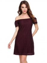 Vin rouge Vin rouge Femmes Casual Slash Neck Off The Shoulder Robe Sexy A-Line