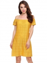Yellow Solid Slash Neck Off the Shoulder A-Line Dress