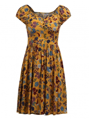 eebd8f1ac2624 Yellow Square Collar Puff Short Sleeve Prints Floral A-Line Casual Dress