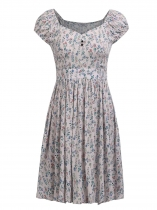 Grey Femmes Casual Carré Puff manches courtes Imprime Floral A Line Sexy Dress