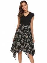 Black Cap Sleeve Floral Patchwork Asymmetric Dress