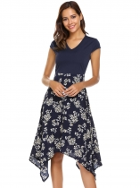 Blue Cap Sleeve Floral Patchwork Asymmetric Dress