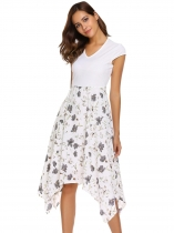 White Cap Sleeve Floral Patchwork Asymmetric Dress