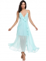 Light blue Spaghetti Strap High Waist Ruffles Backless V Neck Split Chiffon Maxi Evening Wedding Dress