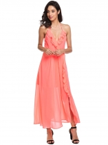 Watermelon red Spaghetti Strap High Waist Ruffles Backless V Neck Split Chiffon Maxi Evening Wedding Dress