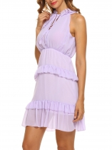 Purple Women's Ruffles Neck Sleeveless Keyhole Slim Fit Chiffon Tiered Dress