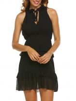 Black Women's Ruffles Neck Sleeveless Keyhole Slim Fit Chiffon Tiered Dress