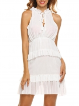 White Women's Ruffles Neck Sleeveless Keyhole Slim Fit Chiffon Tiered Dress