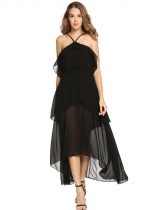 Black Sleeveless Ruffles Irregular Chiffon Maxi Dress