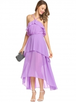 Purple Sleeveless Ruffles Irregular Chiffon Maxi Dress