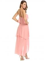 Pink Sleeveless Ruffles Irregular Chiffon Maxi Dress