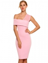 Mujeres malla un hombro volantes Solid Bodycon Cocktail Party Dress