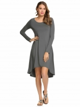 Gray Long Sleeve Solid Round Neck Loose Irregular Dress