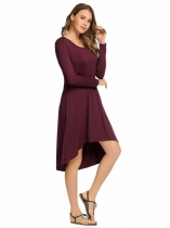 Wine red Long Sleeve Solid Round Neck Loose Irregular Dress