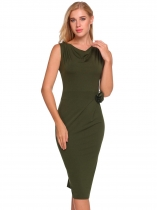 Army green Cowl Neck Solid Bodycon Dress with Brooch