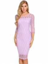 Purple Women Elegant 3/4 Sleeve Floral Lace Bodycon Party Maillot de bain